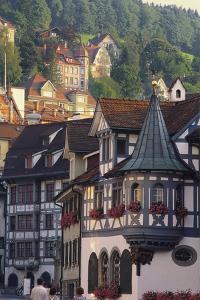 Tudor Exterior of Buildings in Town of St Gallen in Switzerland by John Miller