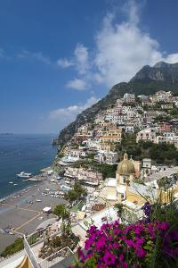 View of town and beach, Positano, Amalfi Coast (Costiera Amalfitana), UNESCO World Heritage Site, C by John Miller