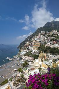 View of town and beach, Positano, Amalfi Coast (Costiera Amalfitana), UNESCO World Heritage Site, C by John Miller