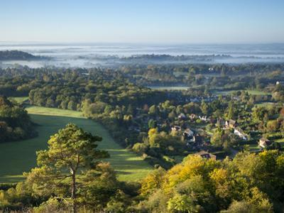 View South from Colley Hill on a Misty Autumn Morning, Reigate, Surrey Hills, Surrey, England, Unit