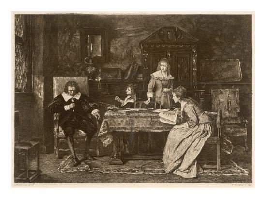 John Milton, Blind in Old Age, Dictates 'Paradise Lost' to His Three Daughters--Giclee Print