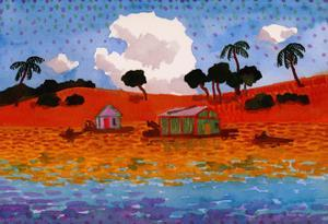 Houseboats on the Amazon River by John Newcomb