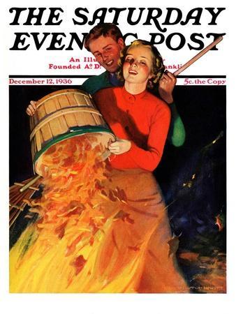 """Bonfire,"" Saturday Evening Post Cover, December 12, 1936"