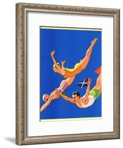 """""""Diving Women and Man,""""August 1, 1932 by John Newton Howitt"""