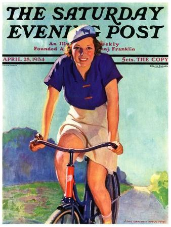 """""""Woman on a Bike,"""" Saturday Evening Post Cover, April 28, 1934"""