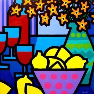 Wine, Lemons and Flowers by John Nolan