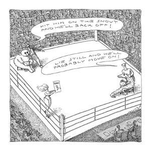 A bear and an alligator in a boxing ring getting advice on the other's nat? - New Yorker Cartoon by John O'brien
