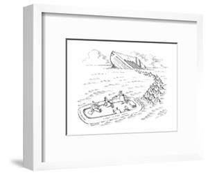 A cruise ship is sinking, and a woman pours glasses of champagne in a life? - New Yorker Cartoon by John O'brien