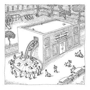 A day care is seen with children riding out of the building onto a baggage? - New Yorker Cartoon by John O'brien