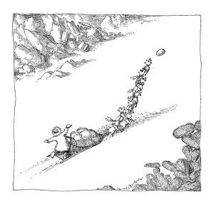 A dog sled team is prompted forward by a Frisbee thrown ahead of it. - New Yorker Cartoon by John O'brien