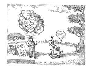 A father, with daughter holding a balloon that's marked, 'O.K.! O.K.! We'l? - New Yorker Cartoon by John O'brien
