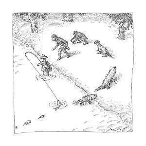 A fisherman wading in the water  catches a fish who precedes other other c? - New Yorker Cartoon by John O'brien