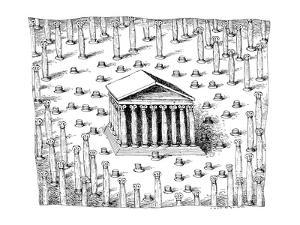 A Greek temple stands in what appears to be a forest of columns. Many of t? - New Yorker Cartoon by John O'brien