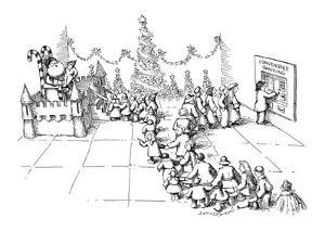 A line of children wait to see Santa Claus to tell him what they want for ? - New Yorker Cartoon by John O'brien