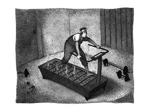 A man on a treadmill filled with hot coals - New Yorker Cartoon by John O'brien