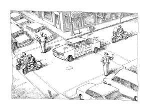 A motorcade made up of motorcycles around a delivery car that has a sign o? - New Yorker Cartoon by John O'brien