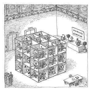 A rubik's cube comprised of cubicles with workers in them is in the center? - New Yorker Cartoon by John O'brien