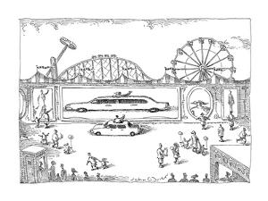 A small car's reflection becomes a stretch limo, in a circus trick mirror. - New Yorker Cartoon by John O'brien