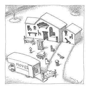 A team of movers is packing a truck with furniture; the house has furnitur? - New Yorker Cartoon by John O'brien