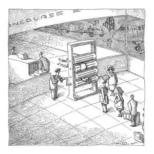 A twist on metal detectors at the airport. - New Yorker Cartoon by John O'brien