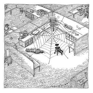 A web has entangled a man at his cubicle.  The office chair is the spider. - New Yorker Cartoon by John O'brien