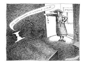 A woman enters a motel room and confronts silhouettes of two faces in bed.? - New Yorker Cartoon by John O'brien