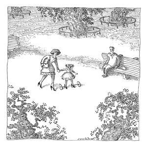 A woman is seen guiding her daughter down the sidewalk as she wears high h? - New Yorker Cartoon by John O'brien