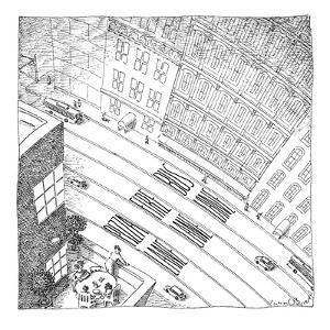 An overhead shot of a street reveals three lanes reserved for the police, ? - New Yorker Cartoon by John O'brien