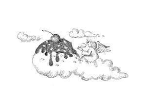 Angel eating ice cream. - Cartoon by John O'brien