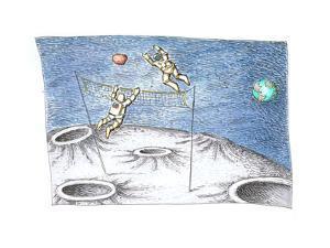 Astronaut Volleyball - Cartoon by John O'brien