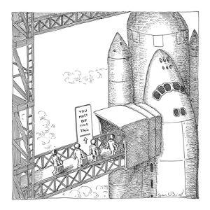 Astronauts boarding shuttle pass sign reading, 'You Must Be This Tall', as? - New Yorker Cartoon by John O'brien