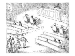 Bailiff ushers in people attending divorce court proceedings. Asks each pe? - New Yorker Cartoon by John O'brien