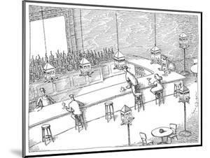 Bar patrons eating snacks from bird feeders. - New Yorker Cartoon by John O'brien