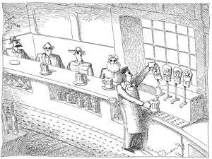 Bartender uses beer taps that have pictures of his customers on the handles. - New Yorker Cartoon by John O'brien