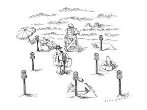 Beach with parking meters for beach blankets. - New Yorker Cartoon by John O'brien