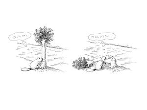 "Beaver thinking ""Dam"" as he chews through a tree, and then thinking ""Damn""? - New Yorker Cartoon by John O'brien"
