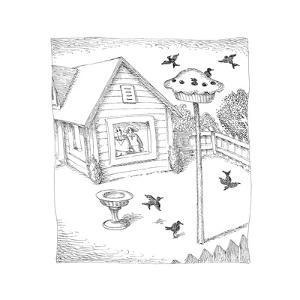 Bird feeder in shape of pie. - Cartoon by John O'brien