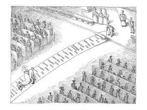 Bride walks down aisle on carpet imprinted with wedding expenses. - New Yorker Cartoon by John O'brien