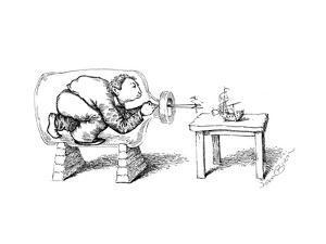 captionless(Man in bottle constructing ship.) - Cartoon by John O'brien