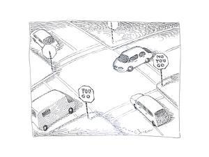 Cars at intersection - Cartoon by John O'brien