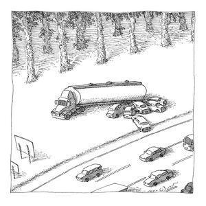 Cars feeding at a gas truck on the side of the highway. - New Yorker Cartoon by John O'brien