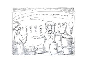 Chef preparing lobster - Cartoon by John O'brien