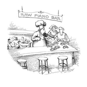 Chef stands at bar opening up miniature grand pianos with a knife, as if t? - New Yorker Cartoon by John O'brien
