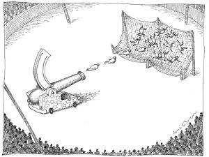 Circus cannon shoots multiple performers into net. - New Yorker Cartoon by John O'brien