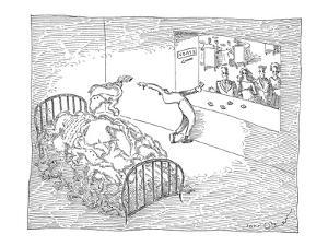 Coat checker tosses coats onto a large bed behind him. - New Yorker Cartoon by John O'brien