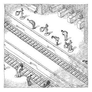 Commuters are seen standing on a train station platform, bent over looking? - New Yorker Cartoon by John O'brien