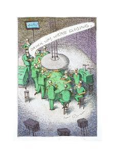 Doctors drinking at an operating table. - Cartoon by John O'brien