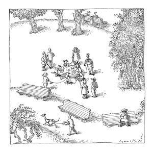 Dogs playing poker in the dog-walk, still tied to their leashes. - New Yorker Cartoon by John O'brien