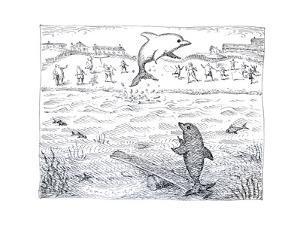 Dolphins using spring board to jump. - Cartoon by John O'brien