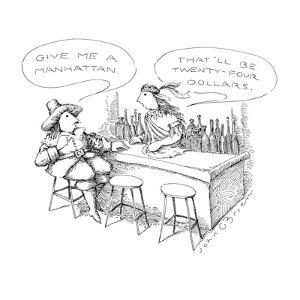 "Dutchman to American Indian bartender ""Give me a Manhattan.""  The bartende…"" - New Yorker Cartoon by John O'brien"
